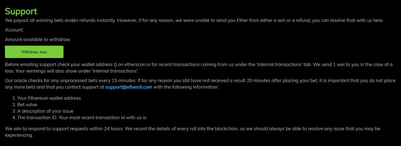 Etheroll Casino Customer Support