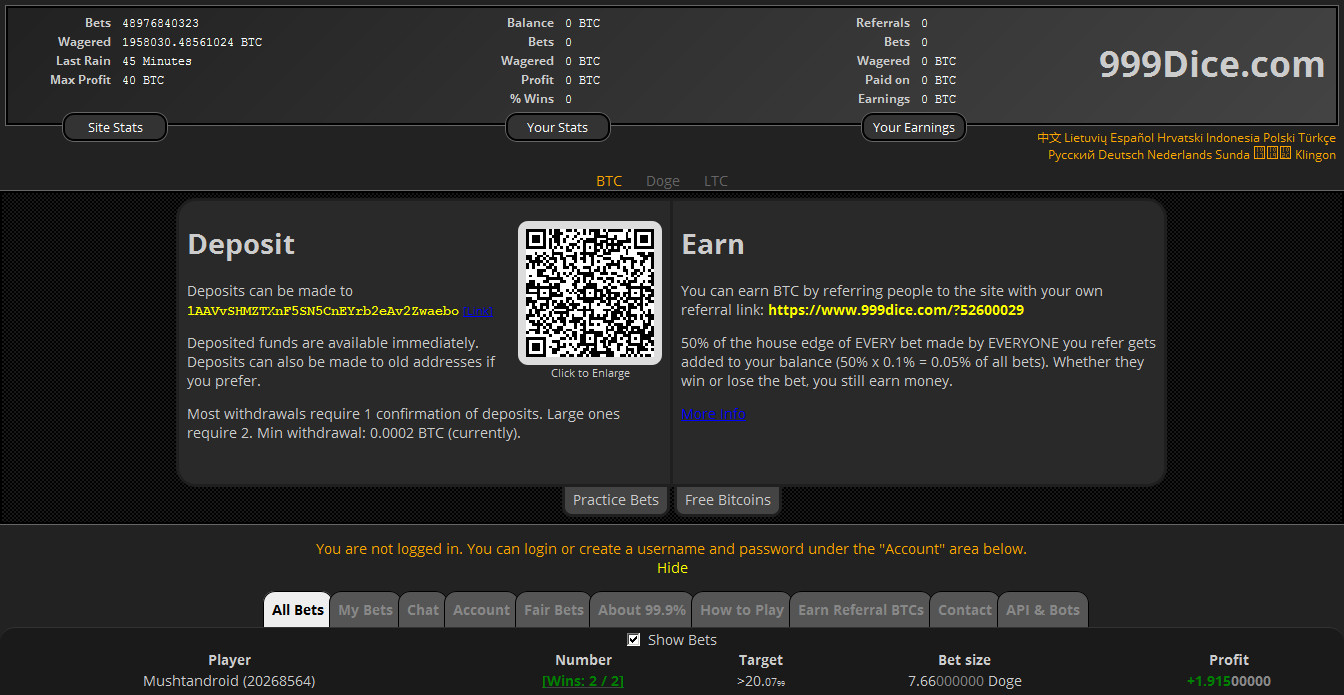 999dice deposit bitcoin