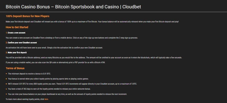 CloudBet Casino Bonuses