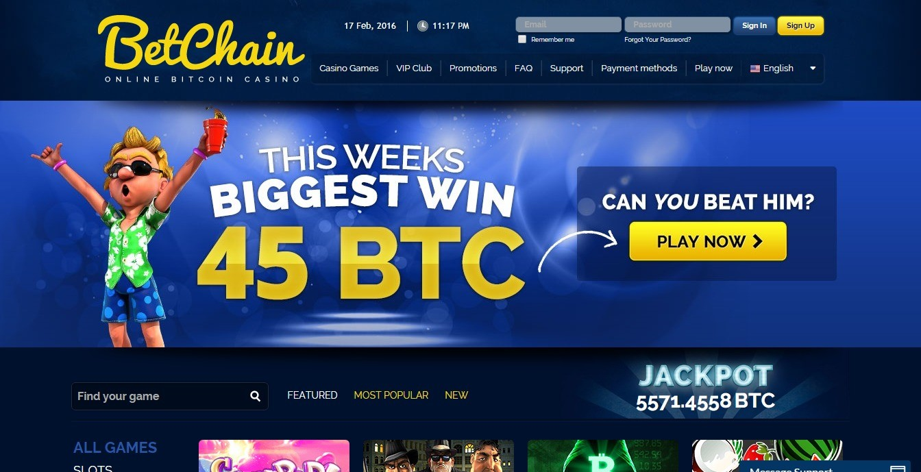 BetChain top cryptocurrency casino