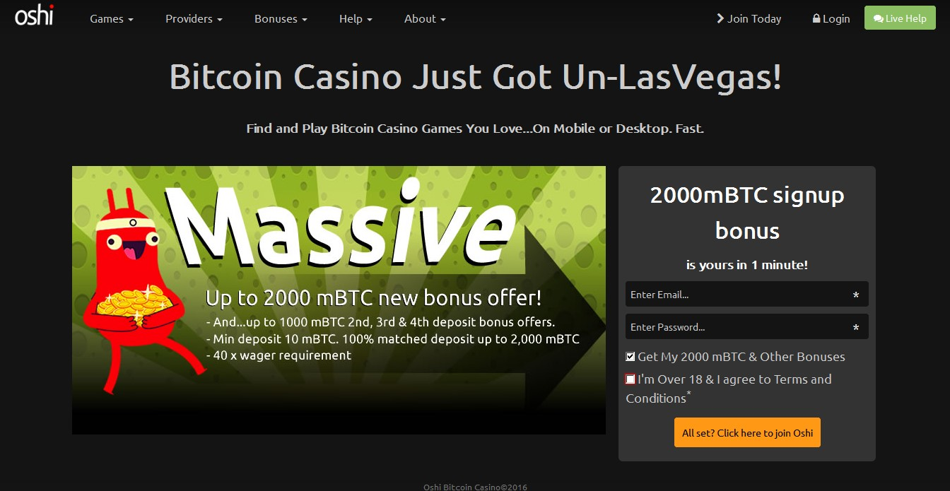 Oshi.io top cryptocurrency casinos