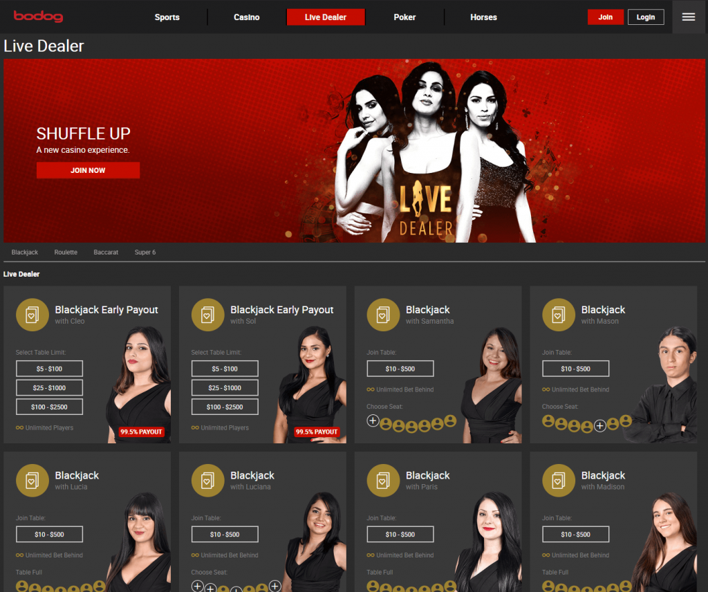 Bodog live dealer choice.